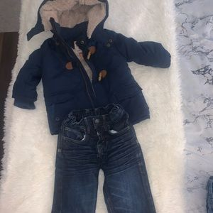 Other - Boys 12mo Winter Jacket + Jeans